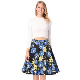 cd30e501c3f16 Fashion Summer Floral Print Ball Gown Pleated High Waist Skirts Party Female  Vintage A-Line Skirts Elegant Midi Skirt for party