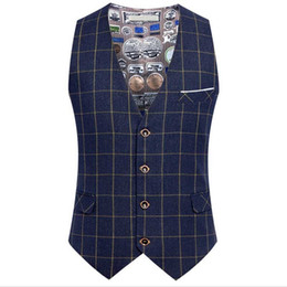 Discount wedding dresses men slim - Spring Autumn Plaid Suit Vest Men England Slimming Vest 4 Button Casual Waistcoat Business Office Dress Formal Wedding 6