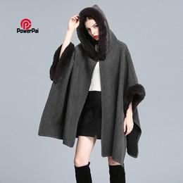 640f82c371ff New Fashion Long Rex Rabbit Fur Hooded Cape Cloak Overcoat Wool Cashmere  Shawl Pashmina Women Autumn Winter Loose Fur Coat
