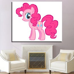 Unique Sheets Canada - Little Pink Horse Pictures Framed Hand Paint DIY Digital Painting By Number Kits Colors Drawing By Numbers For Kids Unique Gifts