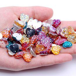 Crafting Gems Australia - 12mm 40pcs Heart Shape AB Colors Flatback Resin Rhinestones Gems With 2 Holes Sew On DIY Scrapbooking Craft Jewelry Decoration