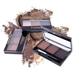 Eyebrow Powder Kit Wholesale UK - Women Girls Eyeshadow Makeup Waterproof Eyebrow Powder Eye Shadow Eye Brow Palette + Brush Makeup Kit 3 Colors New 2018
