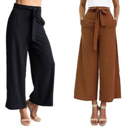 Nuevas Mujeres Baratas de Verano Negro Marrón Pantalones de Gasa Ropa de  Mujer Moda Pantalones Anchos de Pierna Ancha Primavera Otoño Pantalones  FS3006 ae34911ad5d