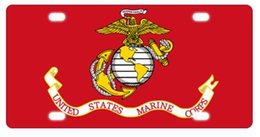 "decorative license plates NZ - United States Marine Corps (USMC) Metal License Plate Frame Decorative Front Plate 6"" X 12"""