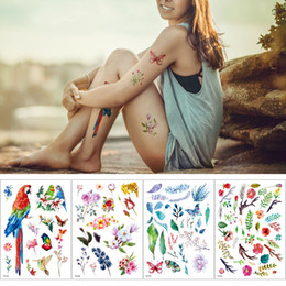 Discount female foot tattoos - Tiny Watercolor Flower Parrot Design Temporary Tattoo Sticker for Male Female Body Art Waterproof Removable Fashion Tran