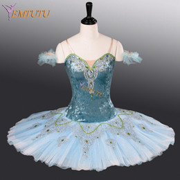 Wholesale professional classical ballet tutu resale online - adult blue professional ballet tutu pancake classical ballet tutus performance stage competition ballerina stage costumes women