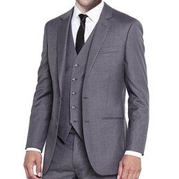 classic gray groom suit Canada - Gray Wedding Tuxedos for Groom Prom Wear 3 Piece Jacket Pants Vest Notched Lapel Classic Fit Business Men Suits