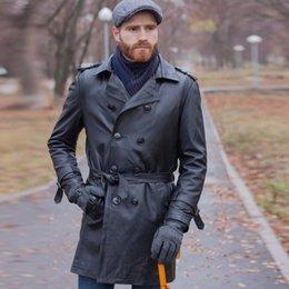 Echtes Leder Trenchcoat X-long Männer Luxusmarke Klassischen Stil Männliche Echtleder Mäntel Und Jacken Windjacke Oberbekleidung