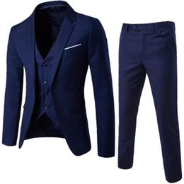 Discount wedding dresses men slim - High-end large size men's three-piece suit, solid color Slim professional business dress overalls, groom groomsmen