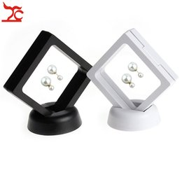 Ring Case Holder Displays Australia - Suspended Floating Display Case Black White Plastic Earring Coins Gems Ring Jewelry Storage Exhibition Stand Holder Box 7*7*2cm