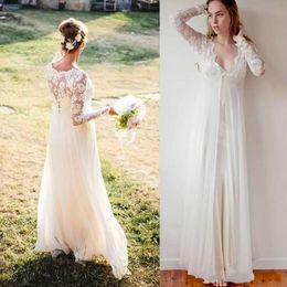 Perfect Ball Gowns NZ - Perfect V-Neck Spring Bohemian Boho Wedding Dresses Chiffon Lace 2018 Vestido de novia Garden Sheer Bridal Gown Ball Plus Size Arabic