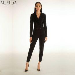 Black womens tuxedo 2 piece set women business suit female office uniform ladies  trouser pant suits double breasted CUSTOM 4891a39399ee