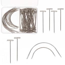 $enCountryForm.capitalKeyWord Australia - 70Pcs set Wig T Pins C Curved Needles Hair Weave Needles For Blocking Knitting Modelling Macrame Holding Wigs DIY Hair Style Tool
