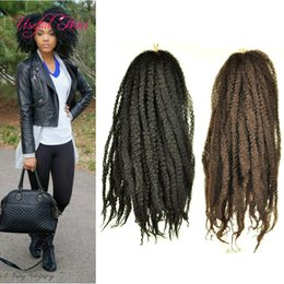 Afro Hair Extensions Bundles NZ - 18inch Afro kinky curly hair bundles soft marley braid crochet hair extension synthetic braiding hair crochet braids for black women