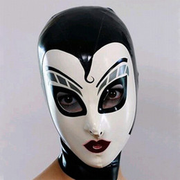 sexy devil woman costume 2019 - New women female Handmade drama Customized Latex Cosplay maid Hoods spliced nurse Fetish Mask Heroine mask Headgear