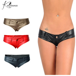 Poles Lady NZ - 2018 Summer PU Leather Shorts For Women Low Waist Ladies Plus Size Woman Pole Dance Shorts Skinny Booty Feminino Trousers
