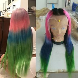 green lace wigs NZ - 4T Ombre Full Lace Human Hair Wigs For Black Women T1b Pink Blue Green Straight Brazilian Virgin Hair Lace Front Wigs Natural Hairline
