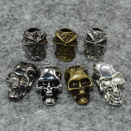 vertical pack Australia - 10pcs pack Single Vertical Hole Metal Skull Beads for Paracord Knife Lanyards