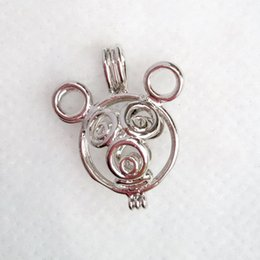 cage pendants for pearls NZ - 18KGP Cute Mouse Style Cage Locket Wish Pearl Cage Pendant Fitting For DIY Fashion Jewelry Charms