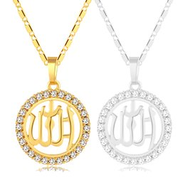 Chinese  Fashion Arab Muslim Round pendant necklace neck chain for Gold Silver color Middle Eastern women men Islamic Religious jewelry gift Bijoux manufacturers