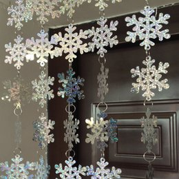 plastic snowflakes decorations Canada - NEW Design 8m Christmas Home Interior Snowflake Pvc Laser Sequins Curtain Snowflake Christmas Tree Decoration