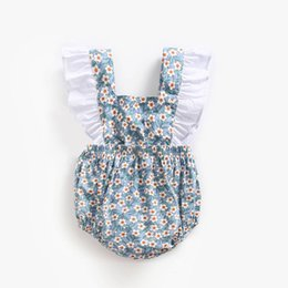 $enCountryForm.capitalKeyWord UK - Vintage Little Girls Clothing Blue Floral Cute White Ruffle Little Princess Baby Romper Suit Bow Kids Sunsuit