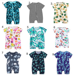 Chinese  Baby boys girls Pineapple Floral fruit Romper INS Newborn Leaves flower striped Zipper Dinosaur Jumpsuits summer kids Climbing clothes C4317 manufacturers