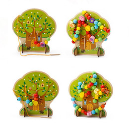 Wooden threading beads online shopping - Colorful Tree Wooden Bead Toys String Beads Fruit Animal Beads Building Thread Toy Baby Early Education Toy Kids Gift