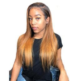 blonde african lace front wig 2019 - Virgin Brazilian Straight Ombre Blonde Full Lace Wigs Human Hair Glueless Two Tone Color Lace Front Wig #1b #27 Color fo