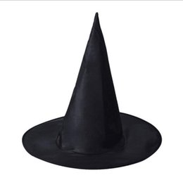 $enCountryForm.capitalKeyWord UK - Black Oxford Burst Seal Hood Harry Potter Magic Hat Halloween Witch Hat All Black Wizards Hats 38X36CM