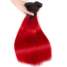 colored 22 inch weave 2019 - Brazilian Ombre Human Hair 3 4 Bundles Cheap Straight 1B Red Human Hair Weave Two Tone Colored Red Human Hair Wefts Exte