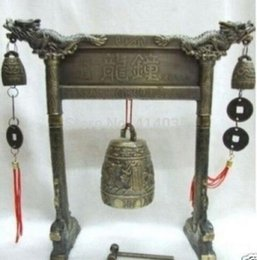 Kind-Hearted Meditation Gong With 7 Ornate Bell With Dragon Design Musical Instrument Garden Decoration 100% Real Tibetan Silver Brass With The Best Service Home Office Storage