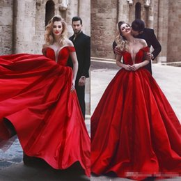 $enCountryForm.capitalKeyWord NZ - Red Arabic Evening Dresses 2018 Ruched Ball Gown Off Shoulder Floor Length Formal Prom Party Gowns Celebrity Dress BA9559