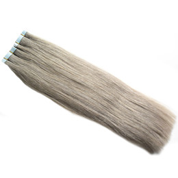 apply extension hair UK - 200g 80pcs Brazilian Human Hair ash blonde Tape in extension hair Apply Tape Adhesive Skin Weft Human Hair Extensions grey Straight pu