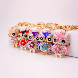 $enCountryForm.capitalKeyWord Australia - Owl Keychains Keyring Crystal Rhinestone Women Holder Bag Charm Keyring Keychain Key Chains Ring Jewelry Wedding Favor 5 Colors Accessories