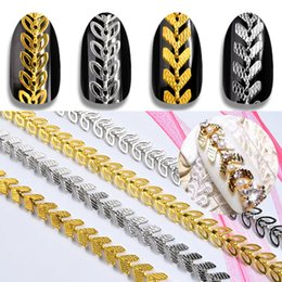 $enCountryForm.capitalKeyWord Canada - 1Pack Gold Silver Metal Nail Art Chains Leaf Aircraft Design 3d Decorations Hollow Leaves Nail Studs Rivet Manicure Accessories