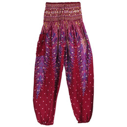 Chinese  Peacock Printed Yoga Pants Indian Ethnic Pilates Bloomers Women High Waist Wide Legs Breathable Dance Pants Trousers manufacturers