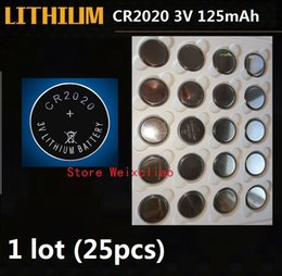 Lithium battery packaging online shopping - 25pcs CR2020 V lithium li ion button cell battery CR Volt li ion coin batteries tray package