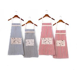 Kitchen Sets For Children UK - Cotton Linen Big Pocket Apron Stripe Aprons For Adult And Child Apron Japan style Kitchen Cooking Waist Cotton Apron Family Clothing