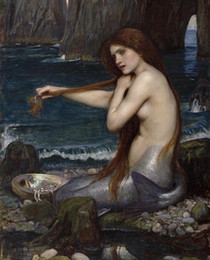 ocean canvas print art Australia - Waterhouse - Mermaid Combing Hair On Ocean Shore Free Shipping,Hand-painted & HD Print Art oil painting On Canvas Home Deco Wall Art p358