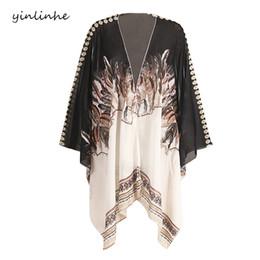 Kimono Plus NZ - yinlinhe 2018 EleWomen Chiffon Cover Up Shirts Summer Beach Wear long Bohemian Batwing Sleeve Smock Kimono Plus Size 051