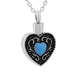 $enCountryForm.capitalKeyWord UK - DJX9838 Vintage Cremation Urn Blue Heart Stone Pendant Urn Necklace, Cheap Popular Stainless Steel Keepsake Memorial Jewelry Urn