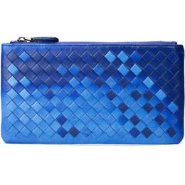0eab17f08732 Leather Sheepskin Wallet UK - New Ladies Genuine Sheepskin Braided Clutch Bag  Purse Zipper Pouch Card