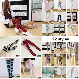 c239664a5af 22 Style Student Girl Stripes Stocking Over Knee Thigh Long Tube Socks Women  Sexy Socks Christmas Socks Party Supplies AAA943