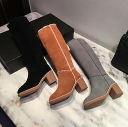 0bce8fb6 Invierno mujer Estilo Plus terciopelo mantener caliente Rodilla botas de moda  botas sin cordones de cuero genuino vestido de fiesta zapatos mujeres  tamaño ...