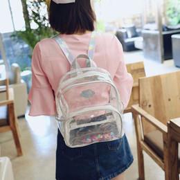 Women Min laser Transparent Backpack PVC clear School Shoulder Bag cute girl  travel outdoor fashion backpack FFA630 50PCS 98bceb46ce