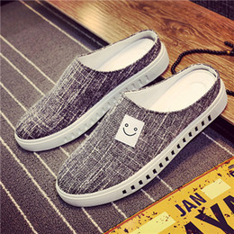 Chinese  2018 Men's half slippers Korean students smiling face breathable flaxen sleeve casual sandals manufacturers