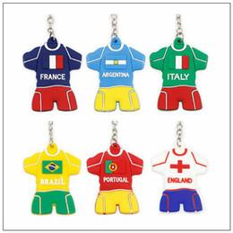 2018 Copa Do Mundo de Futebol Jersey Chaveiro PVC Anel Chave Celular Encantos Bolsa Pingente de Presente Da Lembrança CCA9581 360 pcs
