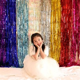 Background curtain decorations online shopping - Rain Curtain Wedding Ceremony Marry Fringed Curtains Birthday Christmas Background Wall Decorate Party Supplies Pure Color hp bb