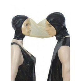 Discount latex fetish hoods mask - 2018 sexy new exotic unisex Latex handmade cekc Fetish two people couple Mask masks double hoods Black With Transparent